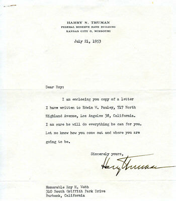 Harry S Truman - Typed Letter Signed 07/21/1953