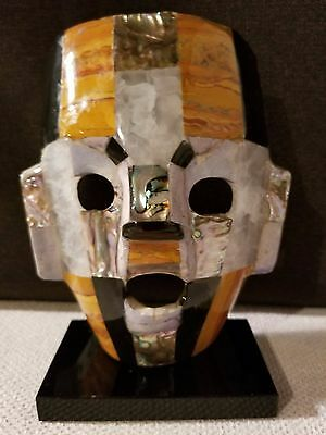 Mayan Death Burial Mask With Abalone And Semi Precious Stones