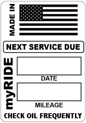 "16x myRIDE MADE IN USA OIL CHANGE  STATIC CLING STICKERS REMINDERS 1.875""x 2.5"""