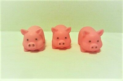 Lot of 3 Plastic Rubber Pink Pig Squeaky Toys Piggies Piggy