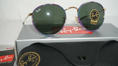 c1b579f3a0d Ray Ban New Sunglasses ROUND METAL Camouflage Violet Green RB3447JM 172 50