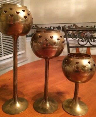 Vintage Set/3 Solid Brass Tiered Votive Candle Globes-Hand Made India-SHIPS FREE