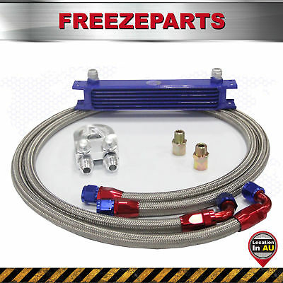 """7 Row AN10 Universal Oil Cooler + 3/4"""" 16 UNF Filter Relocation Adapter Hose Kit"""