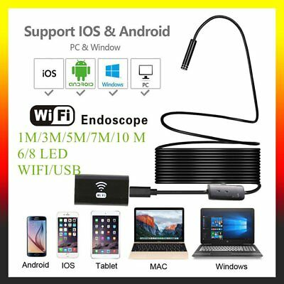 1/3/5/7/10M 8mm WIFI/USB Endoskop Inspektionskamera Kanal Wasserdicht Android/PC