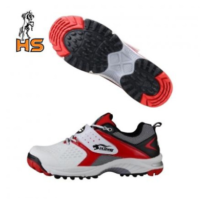 New Hs Sports King Red Comfortable Gripper Cricket Shoes Rubber Spikes