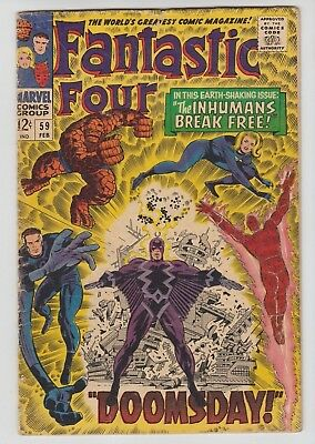 Fantastic Four #59 (Feb 1967, Marvel) Inhumans! Hot Silver Age! Ships Next Day!