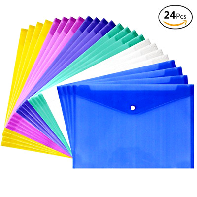 Poly Envelope with Snap Button Closure Juslin 24 Pieces Waterproof Transparent