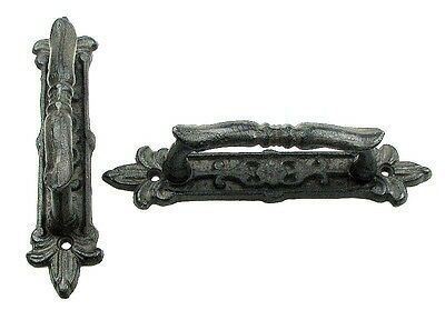SET OF 2 Extra-Large  Cast Iron Door Handle Pull Hardware Decor Rustic Brown