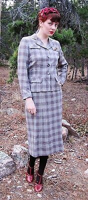 Vintage 1940s Brown Plaid Wool Double Breasted Suit by Harold sz