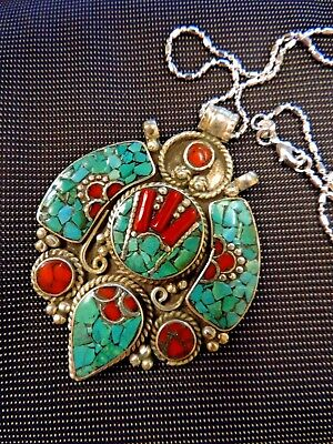 SALE Turquoise TIBETAN SS  .925 GEMSTONES CORAL NECKLACE WISCONSIN Badgers