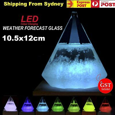 LED Weather Storm Forecast Glass Crystal Diamond Shape Bottle Remote Control Dec