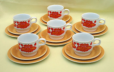 Funky Retro Staffordshire England Cup Saucer & Plate Trios x 6 *Orange & Yellow