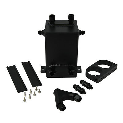 FOR 044 DUAL FUEL PUMP 3L RAW Aluminum SURGE TANK + Y Block KIT BLACK