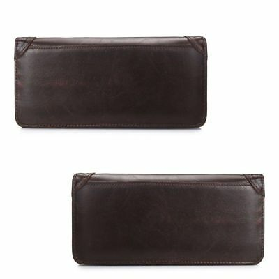 Men's Wallet Genuine Leather Long Bifold Money Card Holder Clutch Purse Slim