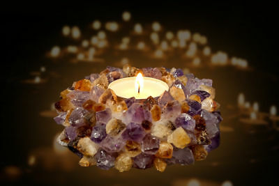 Tea Light Candle Holder Citrine Amethyst Crystal Party Healing Reiki TeaLight