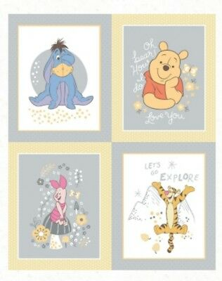 Disney * Winnie The Pooh Multi Character Quilt Panel * New * Unisex * Free Post