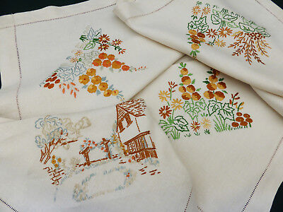 Vintage Irish Linen Tablecloth-Hand Embroidered Rustic Cottage-Hollyhocks