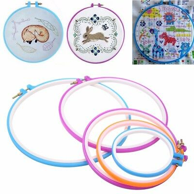 5pcs/Set Plastic Cross Stitch Hoop Ring Embroidery Sewing Kit Frame Crafts DIY