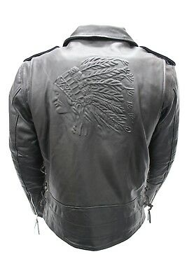 Fashion Men's Red Indian Real Black Hide Leather Classic Biker Stylish Jacket