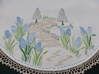 Vintage Centrepiece Doily-Hand Embroidered Spring English Bluebells