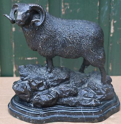 Fab Very Detailed Signed Figure Of A Ram On A Marble Type Base
