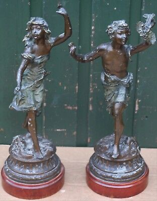Large Pair Of Old Very Detailed Metal Figures On Bases To Tidy Up
