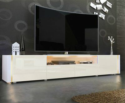 Modern TV Unit Stand Cabinet Santiago in White - All High Gloss & Natural Tones