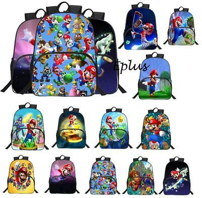 "Super Mario Bros Bag Backpack Student Boy Girl Kid Schoolbag 3D Rucksack 15"" NEU"