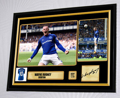 "Wayne Rooney 2017 Everton Large 16 x 12"" Framed Canvas Print Signed ""Great Gift"""