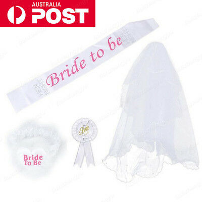 White Bride To Be Hens Night Party Veil Badge Sash Lace Garter Set Bachelorette
