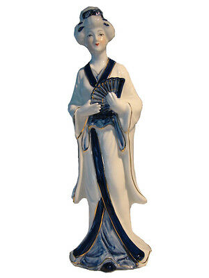 Porcelain Ornament – Standing Asian Ladies With Fan - Centre