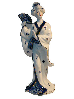 Porcelain Ornament – Standing Asian Ladies With Fan - Left