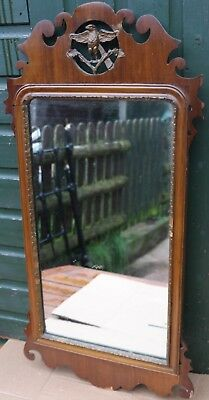 Large Tatty Looking Fancy Wooden Shaped Wall Mirror To Restore