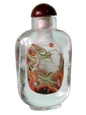 INSIDE PAINTED BOTTLES – GLASS ART - The Dragon  – MED