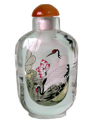Inside Painted Bottles – Glass Art - Cranes (Long Life)  – Med