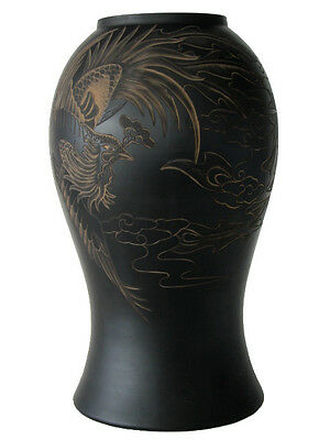 Chinese Black Terra Cotta Pottery – 31 cm x 18 cm Engraved Vase - The Phoenix