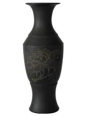 Chinese Black Terra Cotta Pottery – 34 cm x 10 cm Engraved Vase