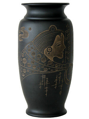 Chinese Black Terra Cotta Pottery – 19 cm x 10 cm Engraved Vase