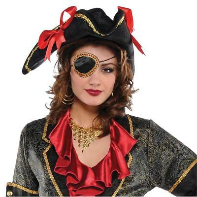 FANCY DRESS Black and Gold Adults Pirate Elegant Eye Patch