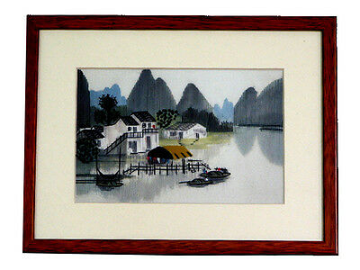 Chinese Theme Framed Silk Embroidery - Water Village