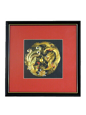 Chinese Theme Framed Silk Embroidery 15 cm Dragon, Dragon & Phoenix, Robin