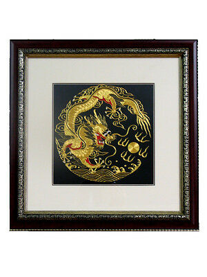 Chinese Theme Framed Silk Embroidery 25 cm Dragon, Dragon & Phoenix, Robin