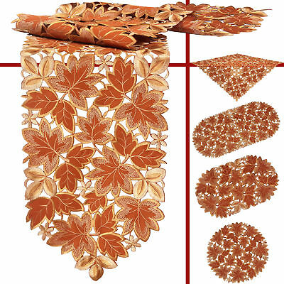 Leaf Doily Tablecloth Table Runner Topper Teracotta Brown Autumn Fall Embroidery