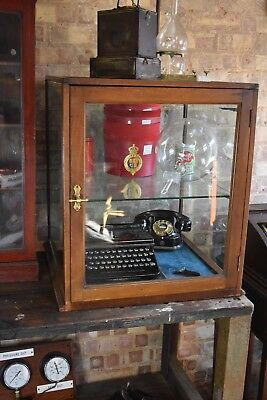 Antique Oak Glazed shop advertising display cabinet haberdashery decorative