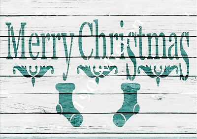 A4 stencil MERRY CHRISTMAS christmas signs,Shabby Chic,fabric, furniture, paint