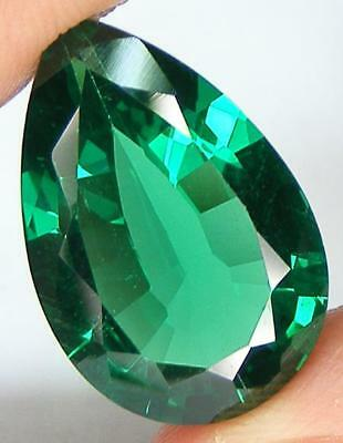14.80CT. CAPTIVATING LONG PEAR 22.5x14.6 MM. LAB CREATED NANOCRYSTAL EMERALD