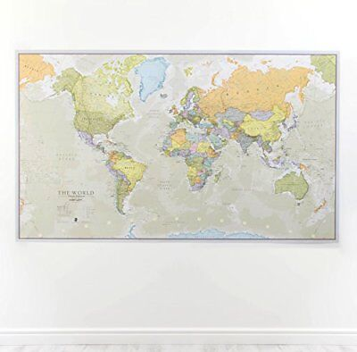 Huge classic world map for kids big giant wall print large wallpaper wall map world classic large poster front laminated huge school home office big gumiabroncs Images