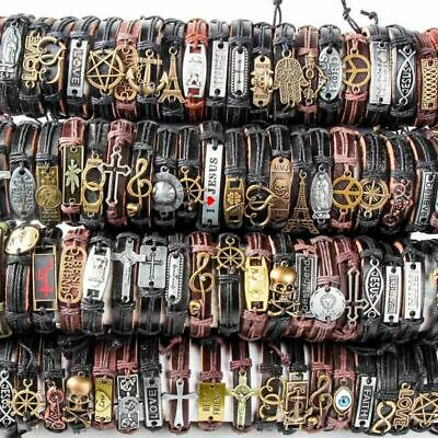 Wholesale 36PCS lots Mix Bracelets Style Surfer Cuff Ethnic Tribal Leather Free