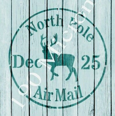 stencil stamp NORTH POLE AIR MAIL christmas signs,Shabby Chic,fabric,  paint