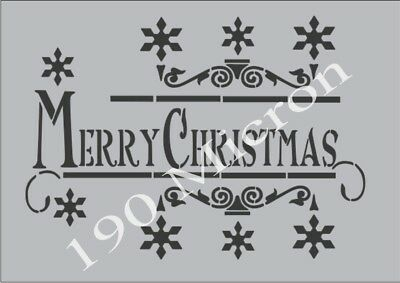A4 stencil MERRY CHRISTMAS 2 christmas, signs,Shabby Chic,fabric,  paint